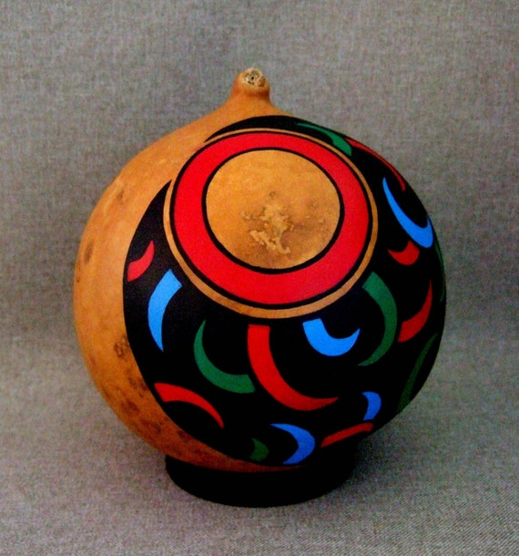 OOAK Hand Painted Gourd Art Object Ornament Home Decor Office Decor Unique Bear Claw Design Black, Red, Blue, Green. Gift for him or her.