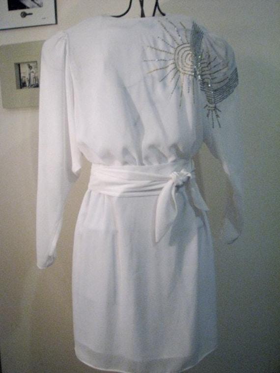 Chiffon Beaded Off White 80s Vintage Dress Fernando Pena