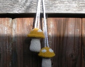SALE Plush Crochet Yellow Hanging Mushroom Toadstool Stuffies, Patchouli Scented, ready to ship.