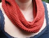 SALE, Peach Rust Crochet Cowl circular scarf neck warmer, unisex, ready to ship.