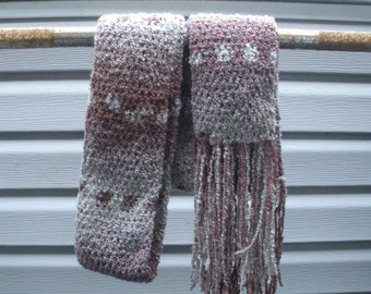 SALE, Long hand crochet scarf in Oatmeal and Mauve boucle with fringe, ready to ship.
