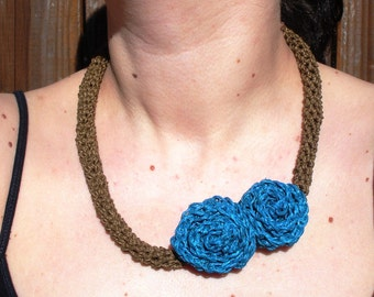 SALE Crochet Necklace with Double Turquoise Roses, ready to ship.