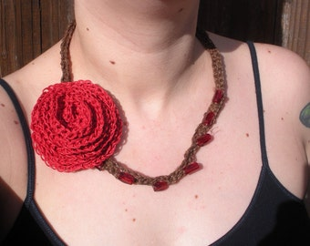 SALE Hemp Crochet Necklace with Red Rose and Beading detail, ready to ship