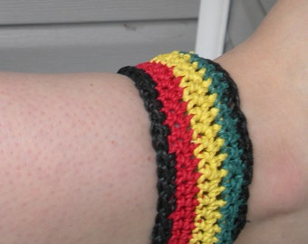 SALE Crocheted hemp anklet - bracelet with tie closure in traditional Rasta colors, ready to ship.