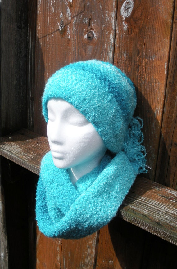 Womens Crochet Scarf and Beanie Set in bright turquoise aqua boucle, ready to ship.