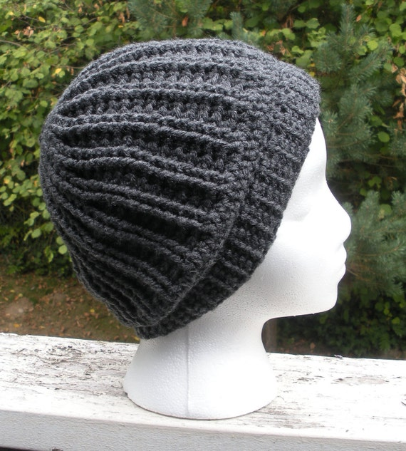 SALE, Unisex crochet chunky ribbed light slouch beanie in charcoal grey, ready to ship.