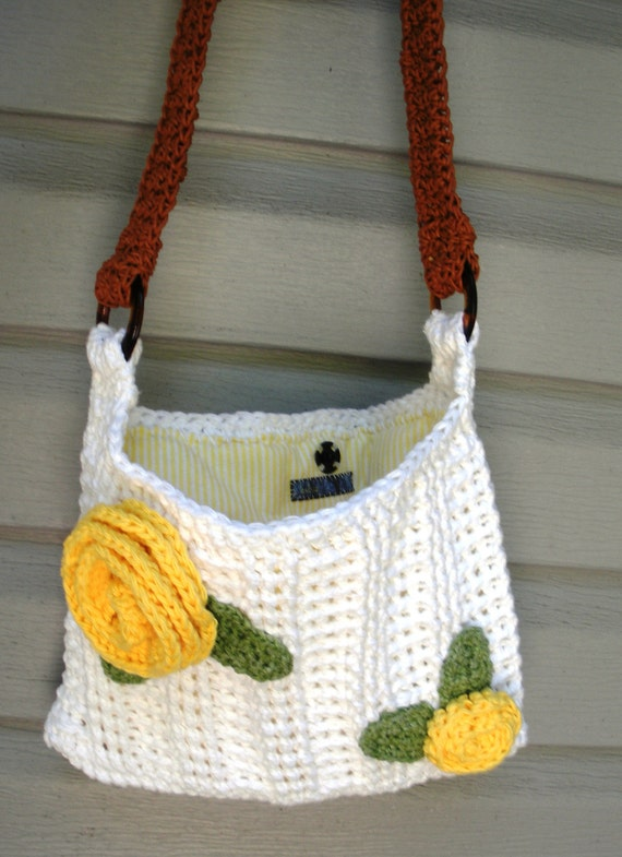 Crochet White Cotton shoulder purse with yellow rose detail and flannel lining, ready to ship.