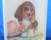 Puppy and plant pot parchment card