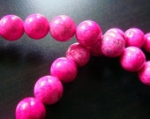 8mm Hot Pink Turquoise Beads