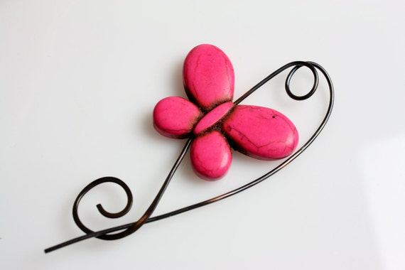 Hot Pink Butterfly Beaded Shawl Pin