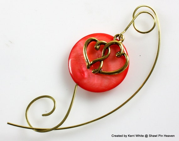 Shawl Pin - Coral Mother of Pearl with Double Heart Charm