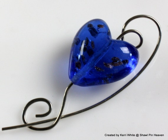 Shawl Pin or Scarf Pin - Ocean Blue and Copper Foil Lampwork Heart