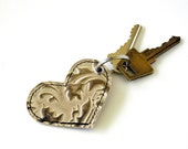 Leather Keyring Keychain - Pearlescent Leaves Raised Texured Pattern in a Heart