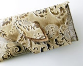S A L E ----- Leather Clutch - RUSTIC with Raw Edge - Double Leaves over Pearlescent Leaves Raised Texured Pattern