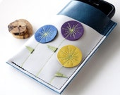 LEATHER iPhone Case - Gadgets, Phones, Ipod Classic - Triple Pocket - Triple Blooms on Stick Thin Stems with Modern Leaves