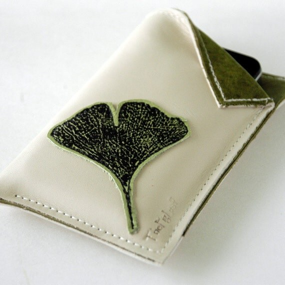 Leather Iphone, Ipod Touch, Ipod Classic, or Phone Case - Ginko Leaf over Buttercream