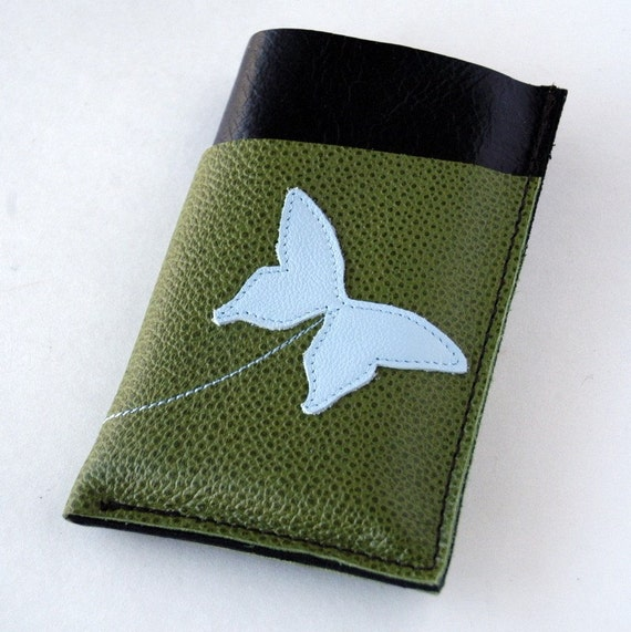 RESERVED LISTING -------- LEATHER iPhone Case - Gadgets, Phones, Ipod Classic - Triple Pocket - Come Fly Away With Me - Butterfly