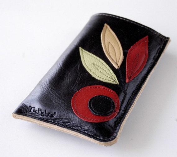 RESERVED LISTING ------ Leather Single Pocket Iphone, Ipod Touch, Ipod Classic, or Phone Case - Lined - RUSTIC - Merlot Blooms and Leaves