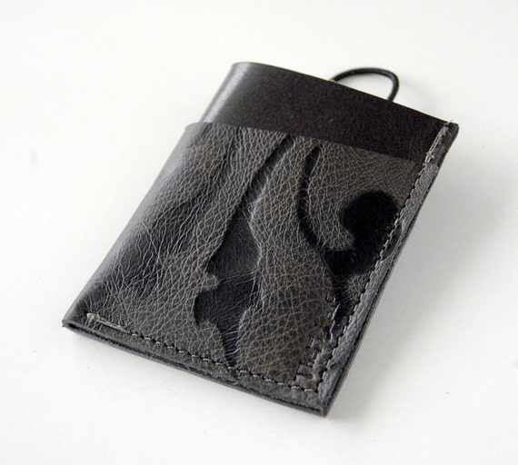 Leather Wallet 3 Pocket with Stay In Place Attachment - Rustic - Black Swirl over Deep Deep Espresso