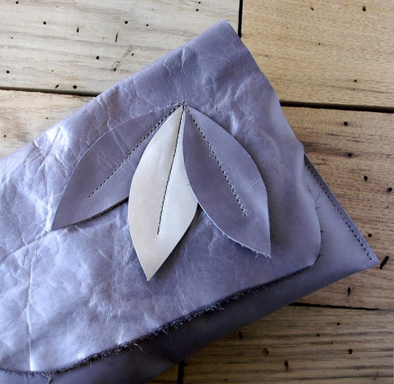 Reserved Listing--------------  Leather Clutch - RUSTIC - Triple Leaves with Raw Edge