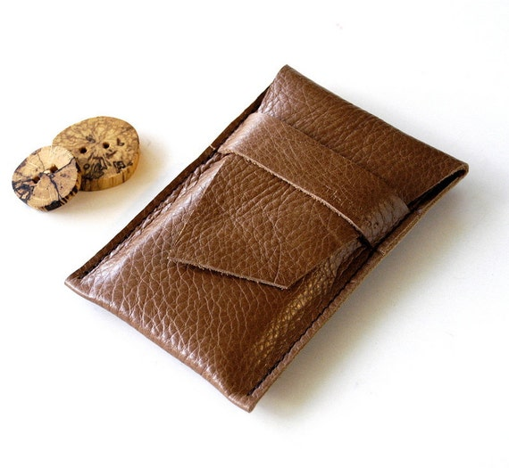 Leather Single Pocket Iphone Case - Gadgets, Phones, Ipod - RUSTIC - Pebble Dark Tan Brown