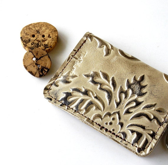 Leather Wallet for Cards Cash and Coins Holder - RUSTIC - Pearlescent Leaves Raised Texured Pattern