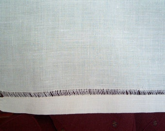Vintage Finely Woven Ivory Linen Dresser Scarf  33 x 16 Inches