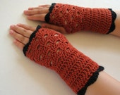 Cinnamon Spice Fan-Edged Fingerless Gloves
