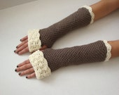 Taupe Cuffed Fingerless Gloves