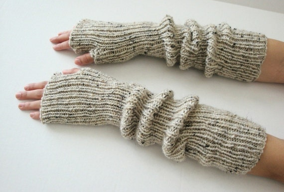 Oatmeal Relaxed Fingerless Gloves - Featured on Etsy's Front Page