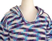 Cotton Hoodie Pullover, Purple and Blue Top, Size Large