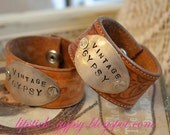 ORIGINAL Hippie, Gypsy, Boho, Cowgirl, Hand Stamped Silver Spoon Vintage Leather Cuff -Vintage Gypsy- As Seen on HGTV's Junk Gypsies-