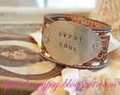 GYPSY SOUL --Lipstick Gypsy Original Handmade Vintage Repurposed Leather Silverware Cuff, Hippie, Gypsy, Cowgirl, Boho