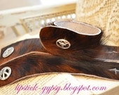 OOAK Hair on Hide with Silver Concho Detail Closure Soft Cuff