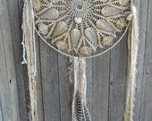 ORIGINAL ooak XL Shabby Gypsy Dreamer, Hippie, Gypsy, Boho, Cowgirl, Native, Prairie, Vintage Lace Dream Catcher feathers, beads, shells