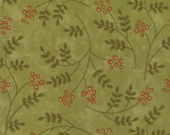 Adoring Berries on Green Fabric by Sandy Gervais for Moda 1 Yard