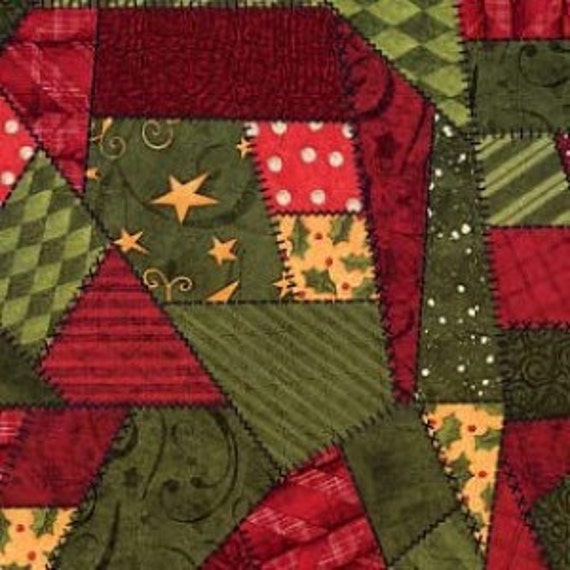 Crazy Quilt Patchwork Fabric from Santas Big Night by Debbie Mumm for SSI 50% OFF!