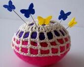 Pincushion felt crochet butterflies pins