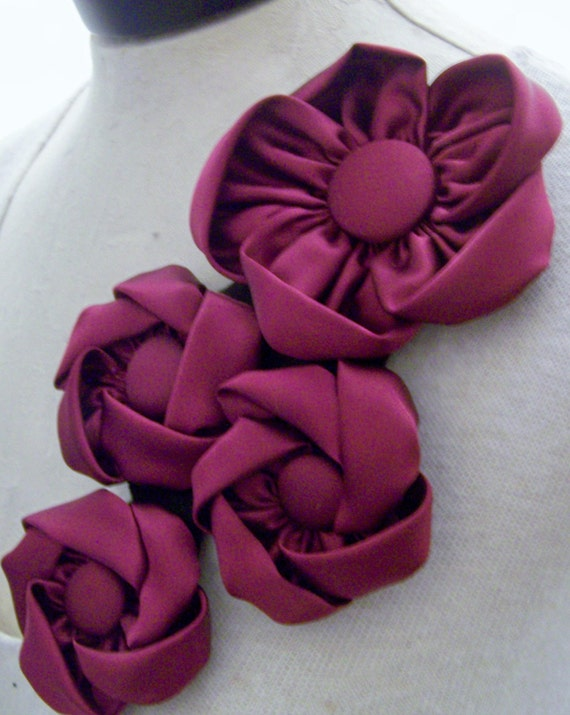Burgundy red wine satin flowers pin shoulder accesory