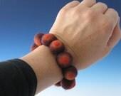 Felted Bracelet, Felt Jewelry, Felt Bracelet, Orange Felt Bracelet, Felted Bracelets
