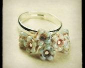 Petit Bouquet- Adjustable beaded glass flower ring- Antique Aqua