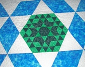 Handmade Patchwork Queen Quilt Blue - She's Truly Lost Her Marbles
