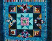 Handmade Queen Quilt - Blue Batik Mystery, Star in a Star