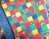 Bright patchwork Baby or  lap quilt - Clown Fish