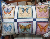 Quilted Pillow Cover - Butterfly print