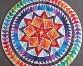 Round Quilted Handmade Batik Wall Hanging Art Quilt - Aurora, a Gail Garber Design