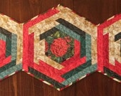 Quilted Christmas Log Cabin Hex Table Topper Quiltsy Handmade