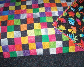 Handmade Twin Quilt Throw Patchwork Art, Earth Quilt Redux Quiltsy