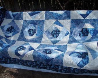 Handmade Twin Patchwork Cabin Sofa Throw in Blues, Moose and Squirrel Quiltsy