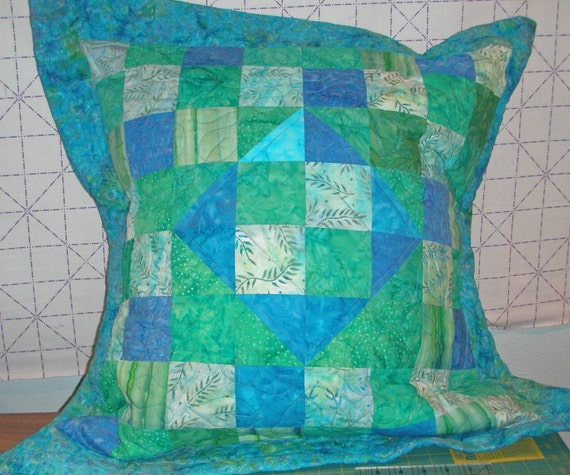 Teal Green and Blue Quilted Pillow Cover Handmade Quiltsy